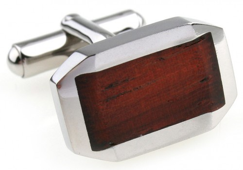 Wood and Stainless Steel Classic Beveled Cufflinks