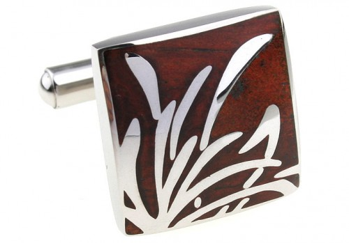 Wood and Stainless Steel Reed Cufflinks