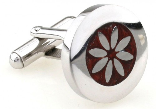Wood and Stainless Steel Flower Cufflinks