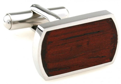 Wood and Stainless Steel Classic Cufflinks