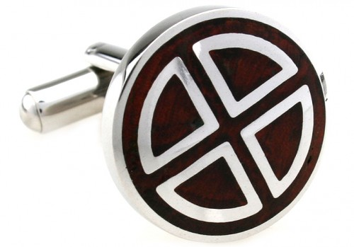 Wood and Stainless Steel Circle Segment Cufflinks