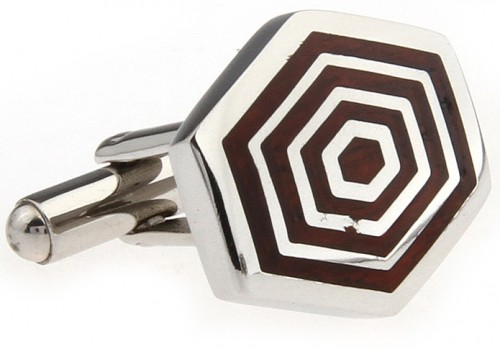 Wood and Stainless Steel Concentric Hexagon Cufflinks