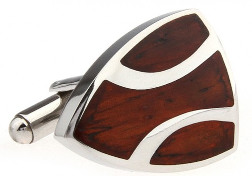 Wood and Stainless Steel Shield Cufflinks