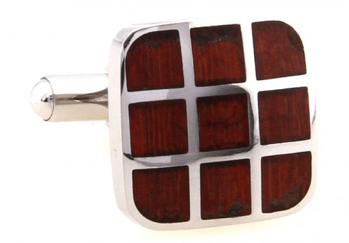 Wood and Stainless Steel Nine Square Cufflinks