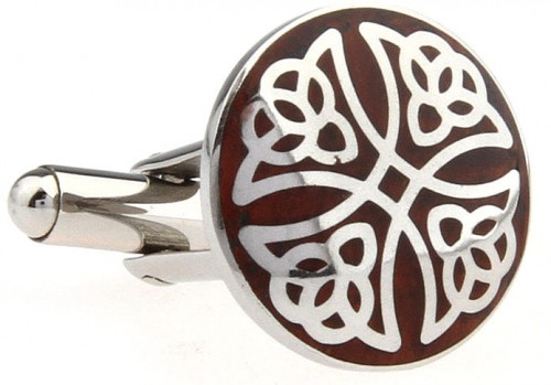 Wood and Stainless Steel Filigree Cross Cufflinks