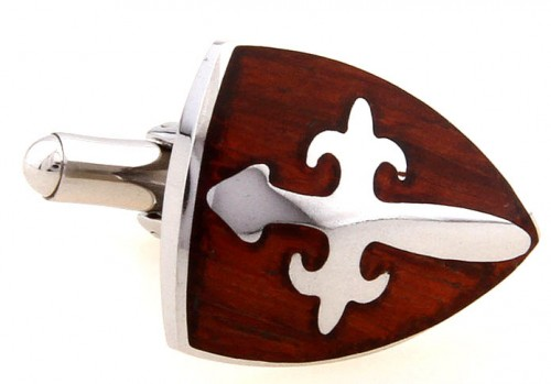 Wood and Stainless Steel Shield Cross Cufflinks
