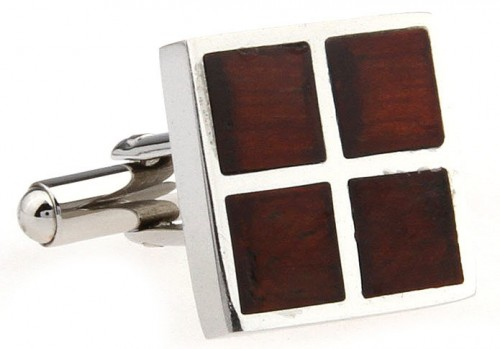 Wood and Stainless Steel Four Square Cufflinks