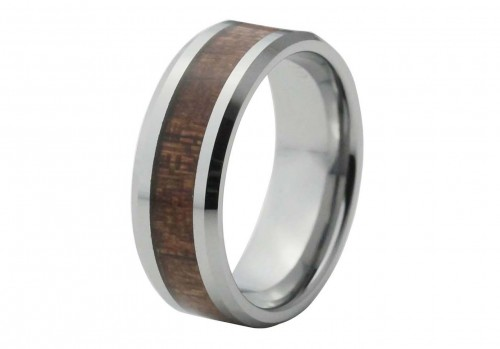 Silver Bevel Edge Tungsten Ring with Red Wood Inlay
