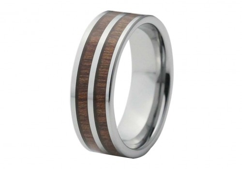Silver Tungsten Ring with Double Red Wood Inlay