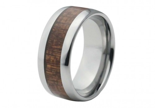 Silver Domed Tungsten Ring with Red Wood Inlay 10mm