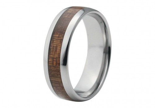 Silver Domed Tungsten Ring with Red Wood Inlay