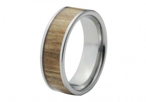 Silver Pipe Cut Tungsten Ring with Light Wood Inlay